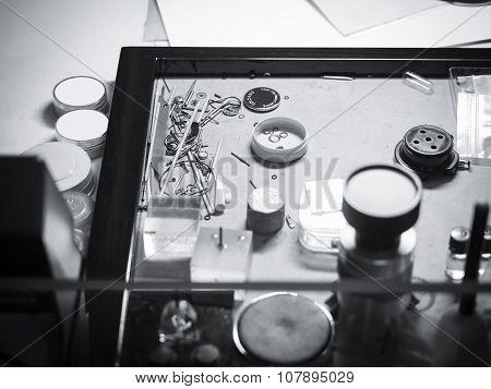 Watch Repair Tools Equipment On Working Desk