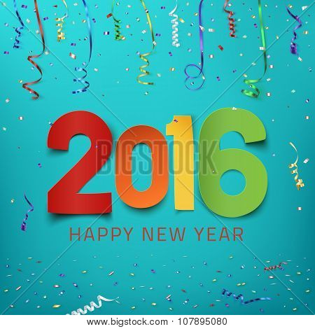 Happy New Year 2016. Colorful paper type.