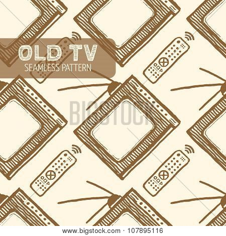 Old TV seamless pattern