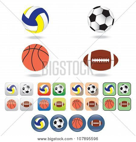 Icons Of  Balls For Different Sports.