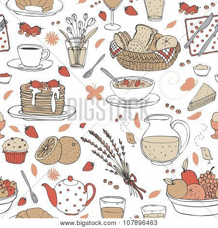 vector hand drawn seamless pattern with various cute breakfast items