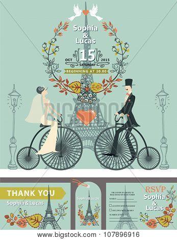 Wedding invitation.Bride,groom,retro bike.Eiffel tower,autumn