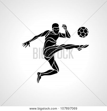 Soccer Player Kicks The Ball.