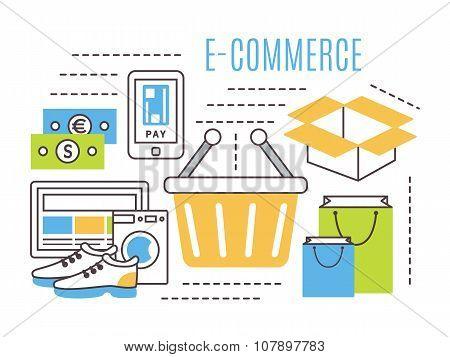 thin line e-commerce vector