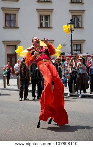 Dancer on stilts in Vienna, Austria
