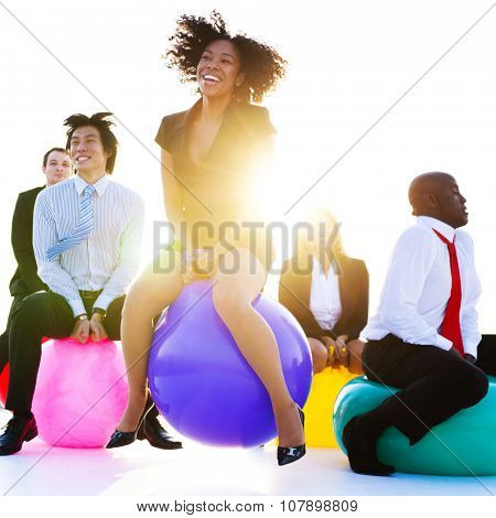 Business People Relaxing and Having Fun Concept