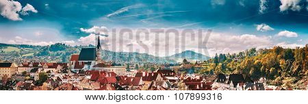 Panoramic cityscape Cesky Krumlov, Czech republic. Sunny autumn