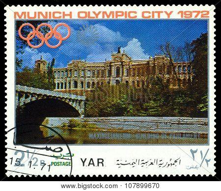 Vintage  Postage Stamp. Munich Olymhic City 1972. 2.