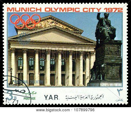 Vintage  Postage Stamp. Munich Olymhic City 1972. 3.