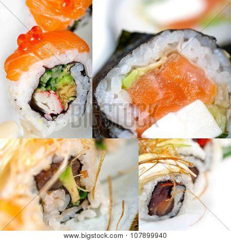 Japanese Sushi Collage