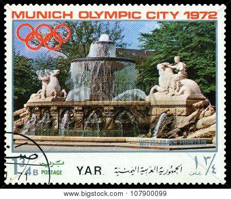 Vintage  Postage Stamp. Munich Olymhic City 1972. 4.