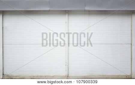 White Ridged Garage Metal Wall, Background