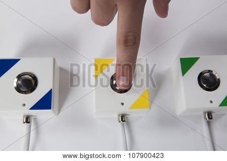 Quiz Game: Press The Button By Finger