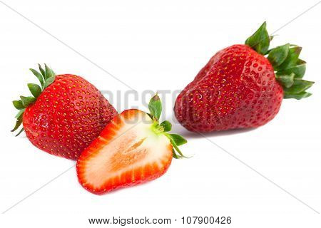 big red juicy rich strawberries with pedicle