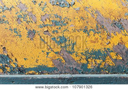 Grungy Wooden Texture With Old Yellow Paint