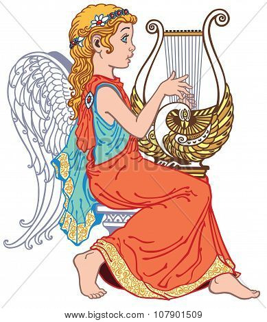 angel playing lyre