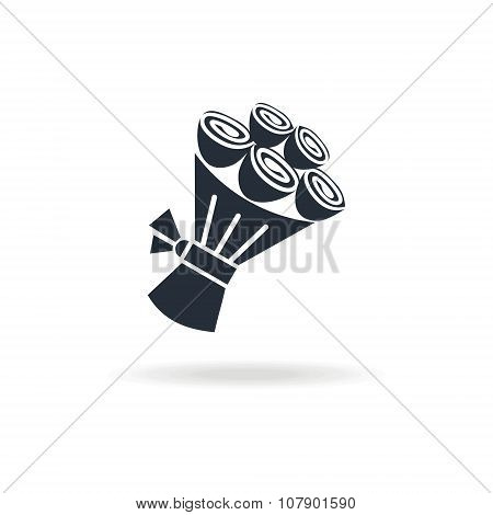 icon bouquet with flowers and packed with ribbon