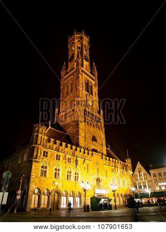 Belfort of Bruges by night