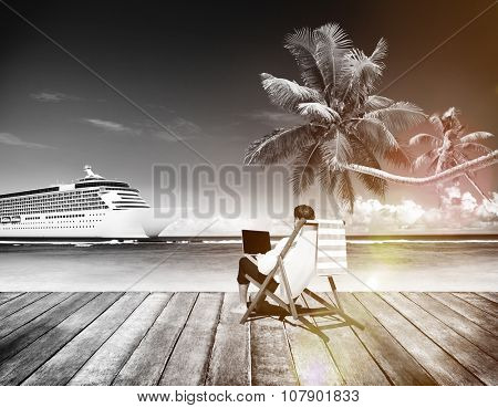 Businessman Holiday Working Business Travel Beach Concept