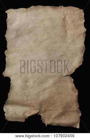 Old Parchment Paper Aged With Torn Edges