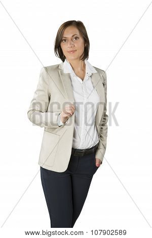Young Business Woman In Jacket Isolated On White Background