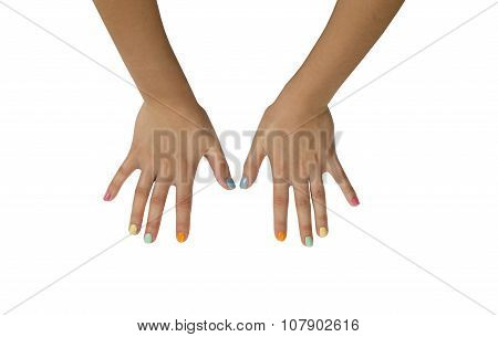 Female Hands With Colorful Manicure Isolated On White Background