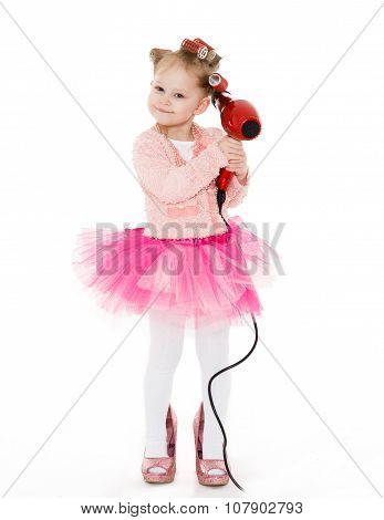 Little Girl With Hairdryer.