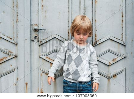 Outdoor portrait of a cute toddler boy wearing grey pullover