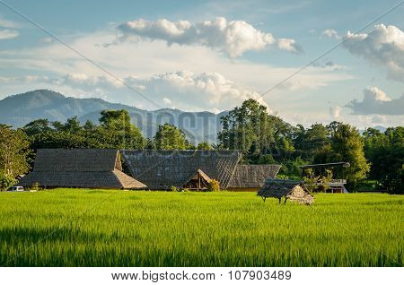 Pai (thailand) Landscape At Sunset
