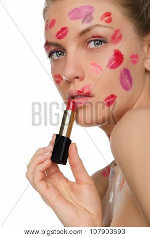 Sexy Woman With Kisses On Face And Lipstick