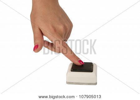Female Hand Press A Button Isolated On White Background