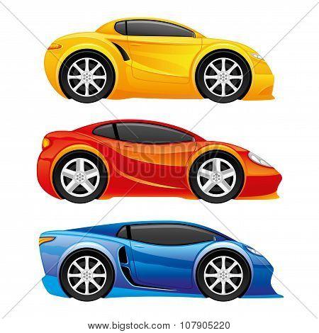 Car icons on white.