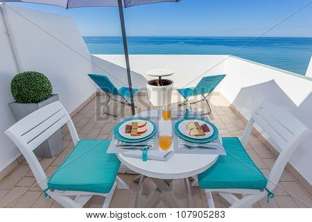 Healthy Breakfast On The Veranda With Sea Views.