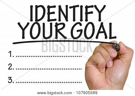 Hand Writing Identify Your Goal Over Plain White Background