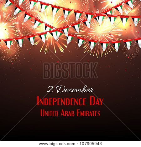 Background with fireworks and with a garland from UAE flags vector illustration