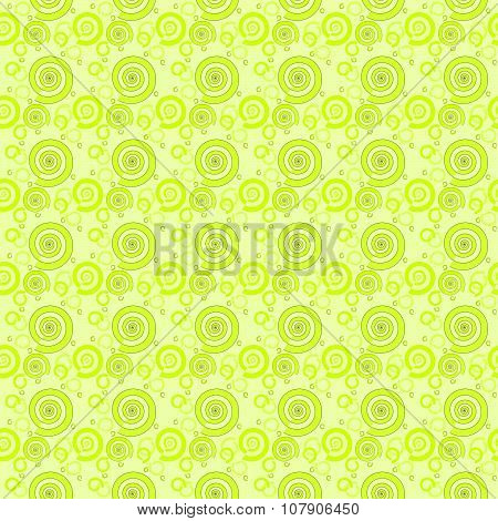 Seamless pattern green spirals