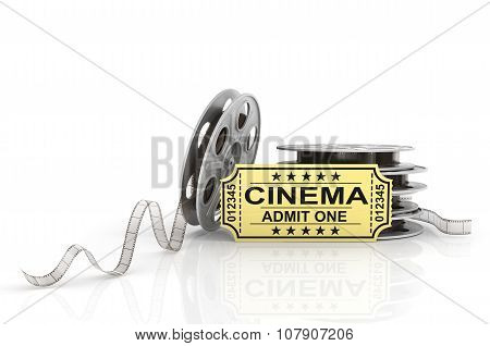 Film Reels, Tickets And Clapper Board. Video Icon