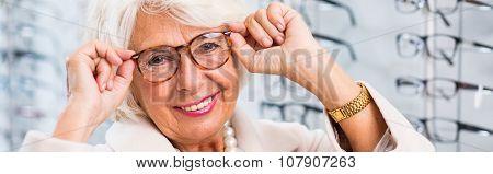 Elegant Grandmother In Glasses