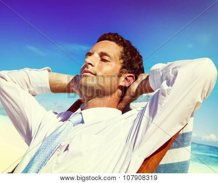 Businessman Relaxing Summer Beach Concept