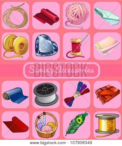 Set of items for mending clothes, 16 icons