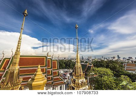 Wat Ratchanaddaram And Loha Prasat Metal Palace In Bangkok ,thailand