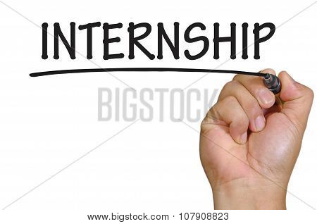 Hand Writing Internship Over Plain White Background