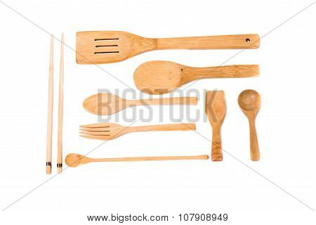 Wooden Spoon Set Isolated On White Background