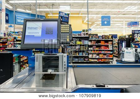 WILLIAMSBURG, VA, USA - CIRCA AUGUST 2015: Empty till in a Walmart supermarket