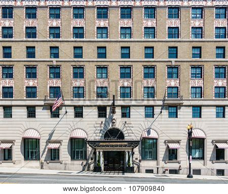 WASHINGTON DC, USA - CIRCA AUGUST 2015: Facade of the W Washington D.C. hotel. This is a beaux arts building from 1917.