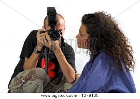Professional Photographer With Dslr While Working With Beautiful