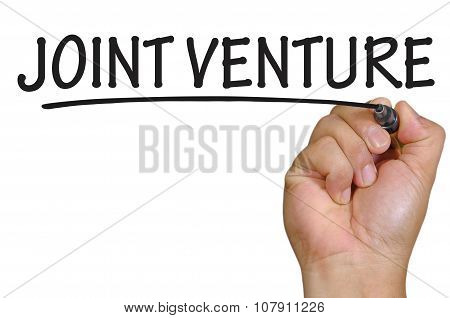 Hand Writing Joint Venture Over Plain White Background