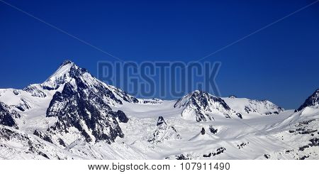Panoramic View On Winter Caucasus Mountains In Nice Sun Day