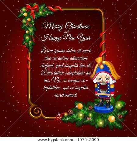Postcard happy New Year and merry Christmas with soldier toy and vertical frame for text on a red ba