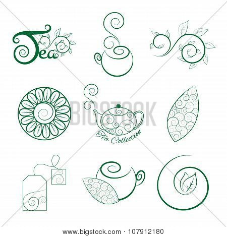 Tea Logo Set With Leaves, Cups, Teapot, Tea Bag And Tea Branch.